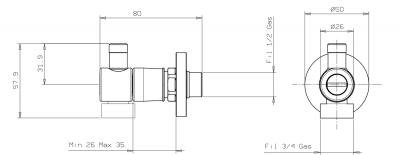 Sapho Kombinované připojení s odbočkou 1/2'x3/4'x3/8', rychlá instalace, chrom SG904