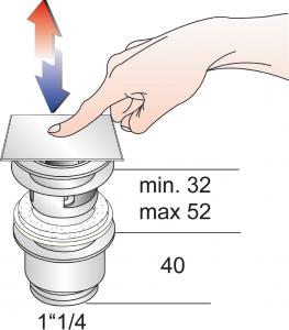 "Omp Tea Umyvadlová výpust 5/4"", click-clack, hranatá zátka, tl.32-52mm, chrom 8540.360.5"