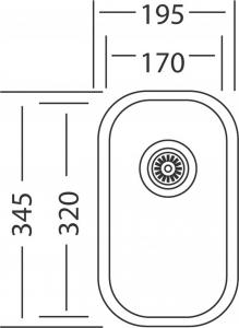 Nerezový dřez Sinks UNDERMOUNT 195 V 0,6mm matný STSUMM1953456V