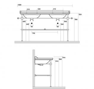 Kerasan WALDORF konstrukce pro dvojumyvadlo 150cm se skleněnou poličkou, chrom 9195K1