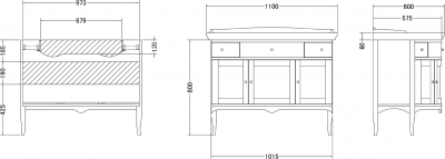 Gallo Wood IRIS BIC 110-S skříňka s umyvadlem, š. 110cm, mramor Silvia Oro, noce/oro IA-110