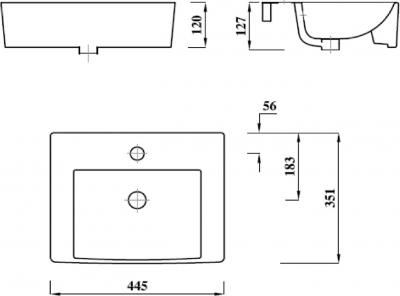 Aqualine MODIS keramické umyvadlo 45x35cm, bílá FS981