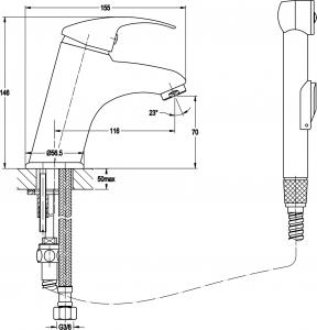 Sapho Umyvadlová stojánková baterie s ruční bidetovou sprškou, chrom 1209-05