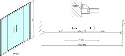 Polysan Lucis Line třístěnný sprchový kout 1500x900x900mm DL4215DL3415DL3415