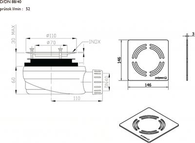 Polysan FLEXIA vaničkový sifon, průměr 90mm, DN40, krytka černá 10382