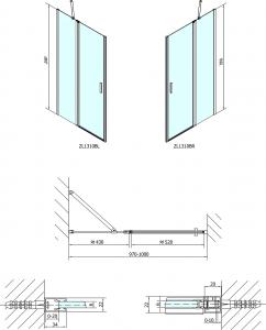 Polysan ZOOM LINE BLACK sprchové dveře 1000mm, čiré sklo ZL1310B