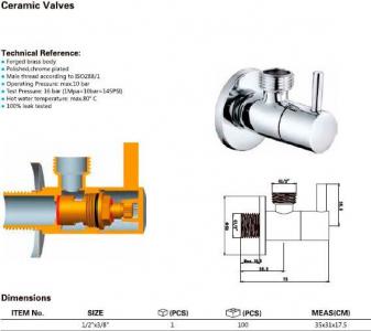 Aqualine Rohový ventil 1/2'x3/8', bez matky, kulatý, chrom 5317