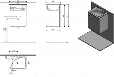 Aqualine ZOJA umyvadlová skříňka 40x50x32cm, mali wenge 51048MW