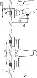 Novaservis Vanová baterie bez příslušenství 150 mm DIJON chrom 81020/1,0