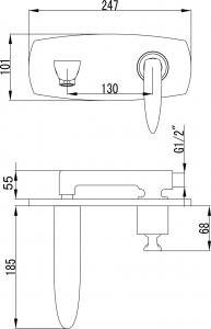 Sapho VENETA podomítková umyvadlová baterie, chrom VN08