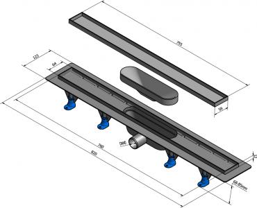 Polysan TILE plastový sprchový kanálek s nerezovým roštem pro dlažbu, 820x123x66 mm 72838