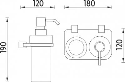 Nimco Bormo Dvojitý držák dávkovače a sklenky BR X3-5831W-26
