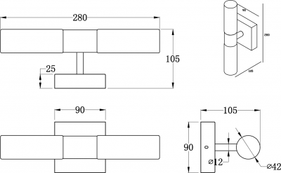 Sapho RODE svítidlo, 2x25W, G9, 230V, IP44 chrom AU445