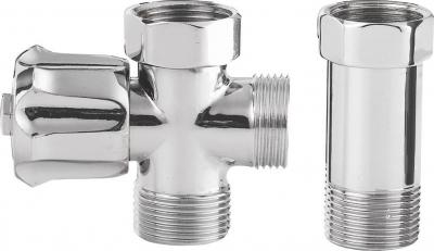 Aqualine Pračkový ventil před nástěnou baterii se zpět. ventilem 3/4'x3/4', chrom 5315