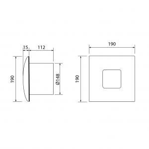 Cata SILENTIS 15 koupelnový ventilátor axiální, 25W, potrubí 150mm, bílá 01090000