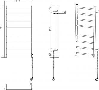 Sapho REDONDO elektrický sušák ručníků s časovačem, kulatý, 500x900 mm, 75 W, nerez ER220T