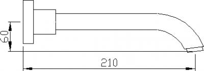 Sapho Nástěnná výtoková hubice, 210mm, chrom CR210CRO