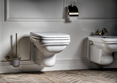 Kerasan WALDORF WC sedátko Soft Close, polyester, bílá/bronz 418601