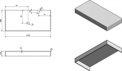 Sapho TAILOR rockstone deska 170x50 cm, provedení límce C TR170C