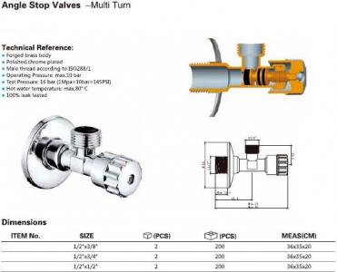 Aqualine MULTITURN rohový ventil 1/2'x3/8', bez matky, chrom 5316