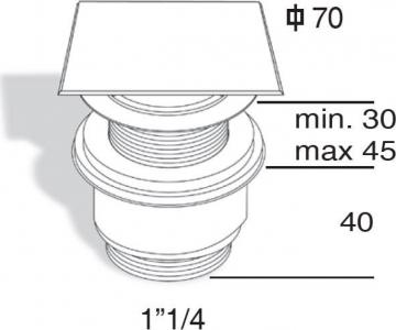"""Omp Tea Umyvadlová výpust 5/4"""", neuzavíratelná, hranatá krytka, tl.30-45mm, chrom 447.555.5"""