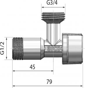 Arco ARCO pračkový ventil L-85 1/2'x3/4', anticalc, chrom L-85 MAC