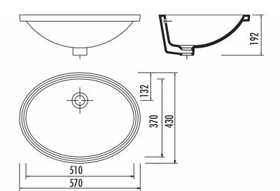 Sapho Keramické umyvadlo 57x43cm, pod desku TP216