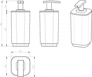 Aqualine SEVENTY dávkovač mýdla na postavení, bílá 638222