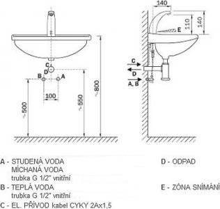 Sapho Senzorová stojánková baterie, 12V AC, chrom PS111