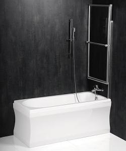 Polysan OLBIA pneumatická vanová zástěna 1230 mm, stříbrný rám, čiré sklo 30317