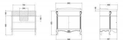 Gallo Wood GIGLIO DEC 90-P skříňka s umyvadlem, š. 90cm, avorio dekor GPD-90