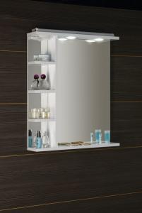 Aqualine KORIN LED zrcadlo s osvětlením, zásuvkou a poličkami 60x70x12cm KO377