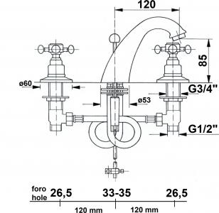 Reitano Rubinetteria ANTEA tříprvková umyvadlová baterie s výpustí, chrom 3021
