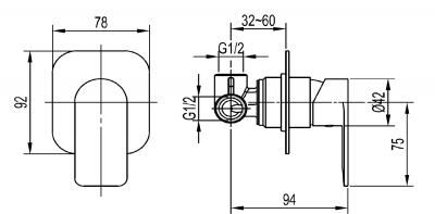 Aqualine DAPHNE podomítková sprchová baterie, 1 výstup, chrom DH841