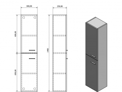 Aqualine ZOJA/KERAMIA FRESH skříňka vysoká 30x140x25cm, mali wenge 51156