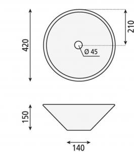 Aqualine COMILLAS keramické umyvadlo 42x15 cm, na desku BH7012