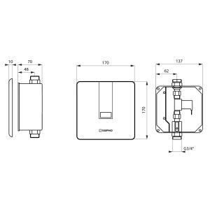 Sapho Podomítkový automatický splachovač pro urinál 24V DC, nerez PS002