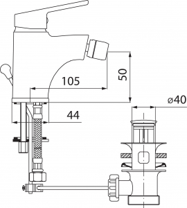 Novaservis Bidetová baterie s výpustí SMILE chrom 71011,0