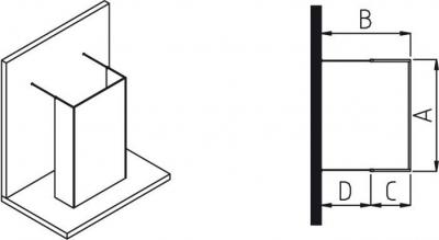 Polysan MODULAR SHOWER rozměry mm: A882 B=C+D C380 D<500 H2000 MS110B