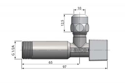 Arco CUBO rohový ventil A-80 1/2'x3/8' s matkou, chrom 1CUBO