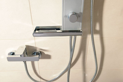 Aqualine ROME sprchový sloup k napojení na baterii, výška 822mm, hliník SL760