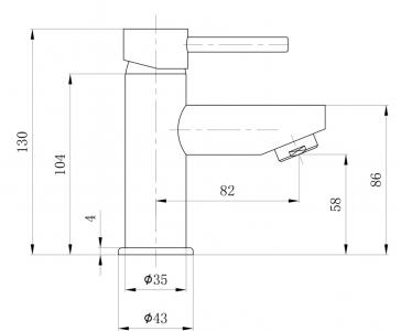 Sapho SMALL stojánková umyvadlová baterie bez výpusti, 130 mm, chrom SM09