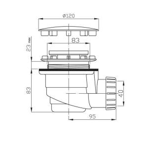Polysan Vaničkový sifon, průměr otvoru 90 mm, DN40, krytka leštěný nerez 1711C