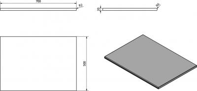 Sapho OLIVER deska 70x2x50cm, technický mramor, Aurora OV070-1217