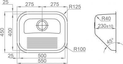 Nerezový dřez Sinks ACQUAVIVA 550 V 1,0mm leštěný MP68132