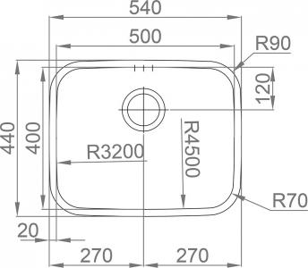 Nerezový dřez Sinks INDUS 540 V 1,0mm leštěný MP68180