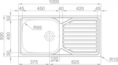 Nerezový dřez Sinks OKIO 1000 XXL V 0,6mm MP68191