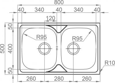 Nerezový dřez Sinks OKIO 800 DUO V 0,6mm MP68198