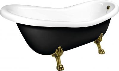 Polysan RETRO volně stojící vana 158x73x72cm, nohy bronz, černá/bílá 72972