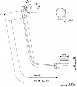 Polysan Vanová souprava s napouštěním, bovden, délka 1175mm, zátka 72mm, chrom 73164